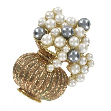 Broche Oro Antiguo Jarrón Imperio Perlas