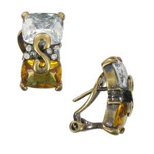 Pendientes de oro en colores marrón, cristal, topacio. Cortos. Con cristales