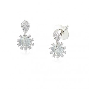 Pendientes Oro Blanco Diamante Cristal