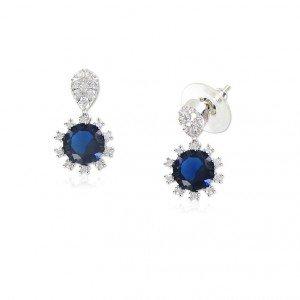 Pendientes Oro Blanco Diamante Azul