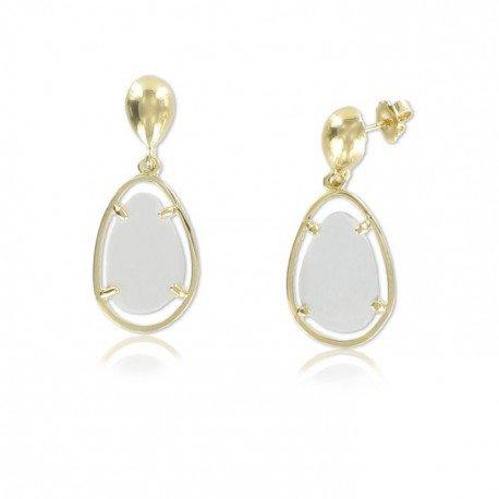 Pendientes Oro Blanco y Cubic Facetado Opal Blanco