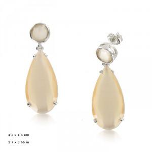 Pendientes Oro Blanco Cubic Facetado Opal Blanco