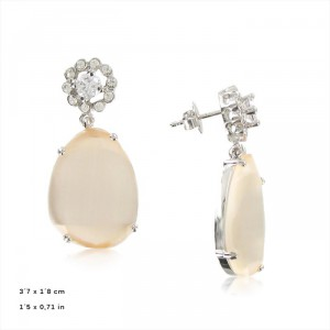 Pendientes Oro Blanco Cubic Facetado Opal