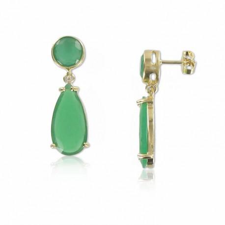 Pendientes Oro Cubic Facetado Jade