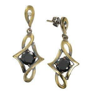 Pendientes de oro en color negro. Largos. Con cristales, circonitas