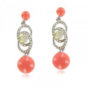 Pendientes Oro Blanco Coral Rosa