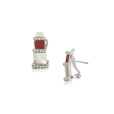 Pendientes de oro blanco en colores cristal, rojo, blanco. Cortos