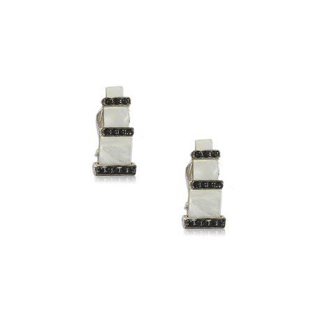 EARRING - PLATED: RHODIUM - IN COLOURS: WHITED, BLACK