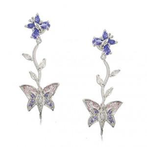 Pendientes Oro Blanco Mariposas Violeta