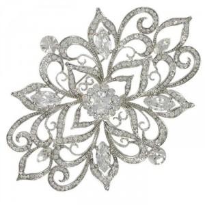 Broche de oro blanco en color cristal. Con cristales, circonitas