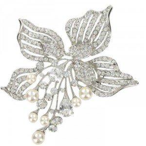 Broche Oro Blanco Circonitas y Perlas