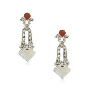 Pendientes de oro blanco en colores rojo, marrón, topacio, cristal, blanco