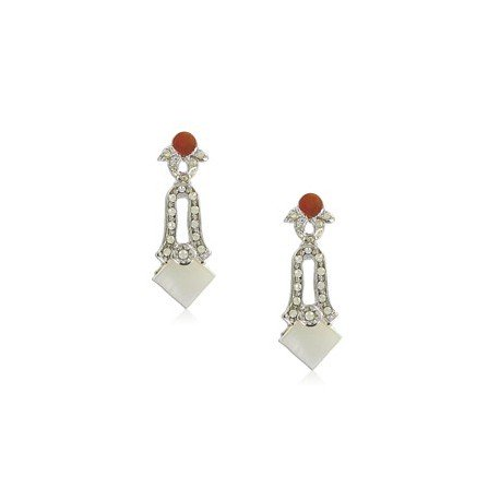 EARRING - PLATED: RHODIUM - IN COLOURS: PREVAILING COLOUR RED, WHITED, TOPAZ, BROWN, CRYSTAL