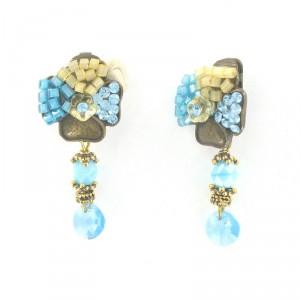 Pendientes Oro Antiguo Vintage Cristal Azul