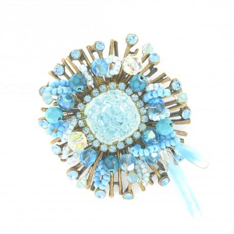 Broche Oro Cristal Vintage Azul Turquesa