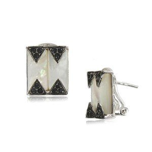 EARRING - PLATED: RHODIUM - IN COLOURS: WHITED, CRYSTAL