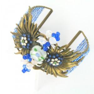 Pulsera Oro Antiguo Vintage Azul Blanco