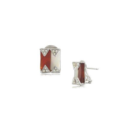Pendientes de oro blanco en colores blanco, marrón, cristal, rojo, topacio