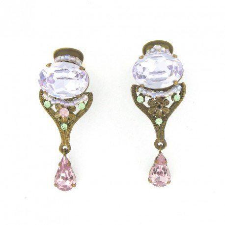 Pendientes Vintage Cristal Violeta Rosa