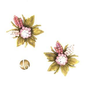 Pendientes Oro Antiguo Vintage Rosa