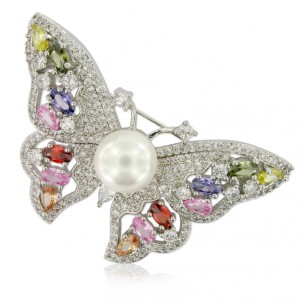 Broche Mariposa en Oro blanco y circonitas