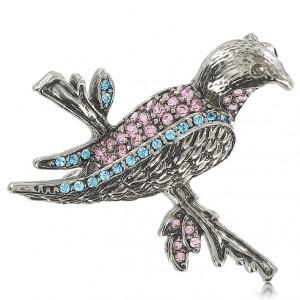 Broche Pájaro chapado plata antigua