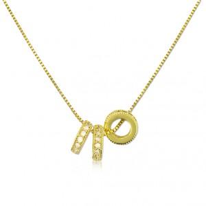Colgante Oro con aros y circonitas cristal