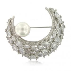 Broche Luna con circonitas en cristal