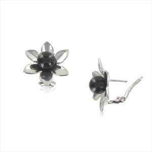 EARRING - PLATED: RHODIUM - IN COLOURS: BLACK