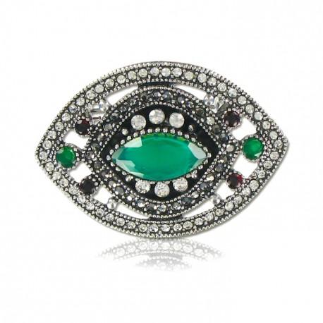 Broche oval con Jade