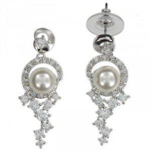 Pendientes de Novia con perla y circonitas