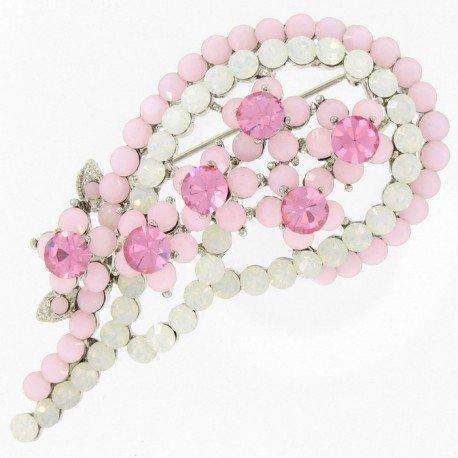 Broche rosa palo con florecitas