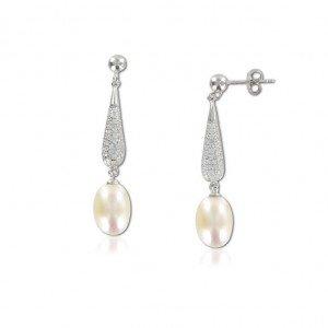 Pendientes plata de ley largo con perla