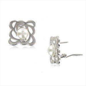 Pendientes de oro blanco en color blanco. Cortos. Con perlas