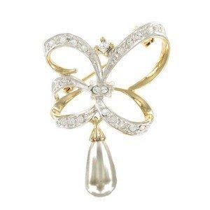 Broche Oro Cristales Perla