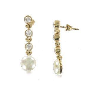 Pendientes de oro. Cortos. Con perlas, circonitas. Cierre a presión.