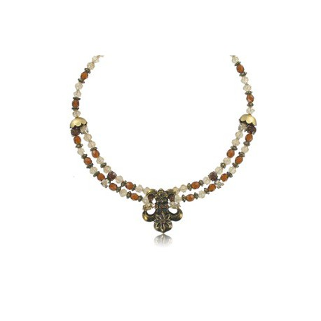 NECKLACES - PLATED: GOLD - IN COLOURS: WHITED, TOPAZ, BROWN