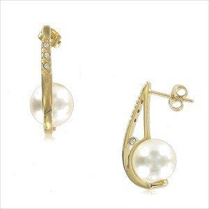 Pendientes de oro en color cristal. Medianos. Con perlas, cristales