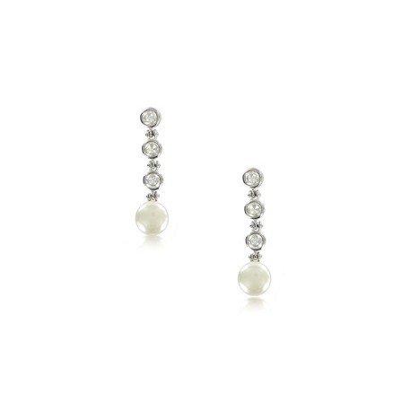 Pendientes de oro blanco en color cristal. Cortos. Con perlas, circonitas