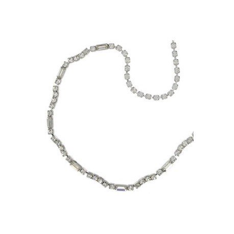 NECKLACES - PLATED: SILVER - IN COLOURS: CRYSTAL