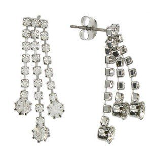 EARRING - PLATED: SILVER - IN COLOURS: CRYSTAL