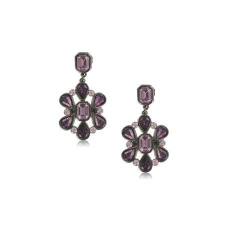EARRING - PLATED: ANTIQUE SILVER - IN COLOURS: PURPLE