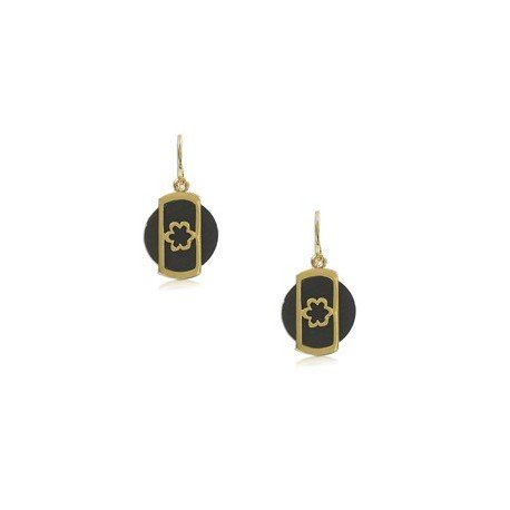EARRING - PLATED: GOLD - IN COLOURS: BLACK