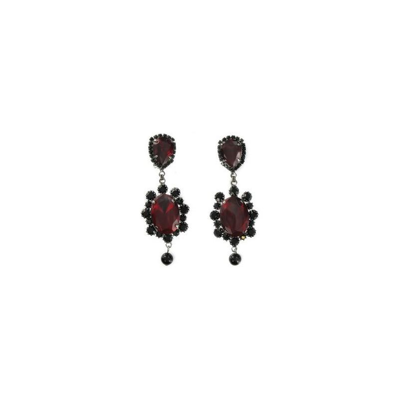 Baño De Color Rojo Pelo:Pendientes de plata antigua en colores negro, rojo Medianos Con