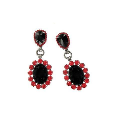 Pendientes de plata antigua en colores negro, rojo. Medianos. Con cristales