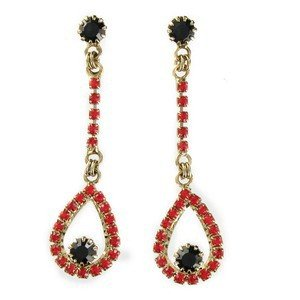 EARRING - PLATED: ANTIQUE SILVER - IN COLOURS: PREVAILING COLOUR RED, BLACK
