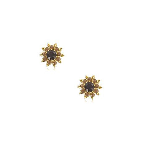 EARRING - PLATED: GOLD - IN COLOURS: PREVAILING COLOUR RED, BLACK
