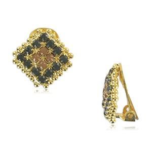 Pendientes de oro en colores topacio y negro. Cortos. Con circonitas