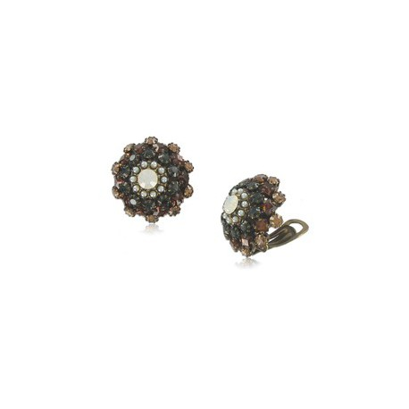 EARRING - PLATED: GOLD - IN COLOURS: WHITED, TOPAZ, BROWN