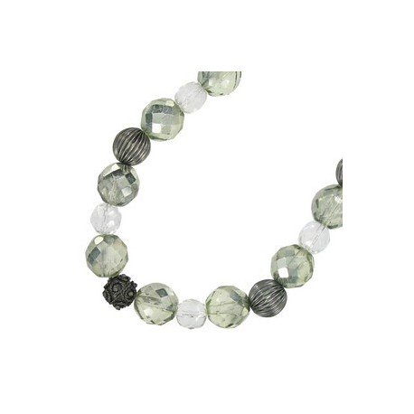 NECKLACES - PLATED: ANTIQUE SILVER - IN COLOURS: GRAY, CRYSTAL